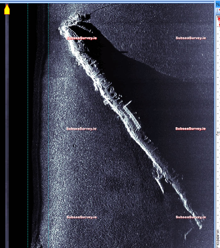 Sidescan sonar image of UC-42 taken by our sister companay Subsea Survey Services Ltd.