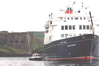 Cruise ship Hebridean Princess at anchor, Charles Fort, Kinsale, Summer 2002