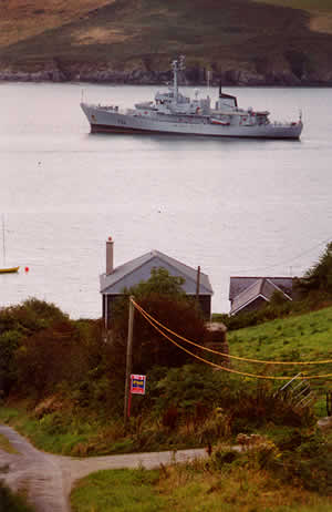 Irish Naval vessel L.E. Aoife, (P22), at anchor at Lower Cove, Kinsale harbour, Summer 2002.
