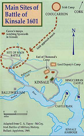 Map of Kinsale's 1601 Battle sites