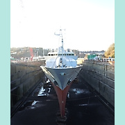 Bow-on view of L.E.Roisín in Verolme dockyard, Cork.