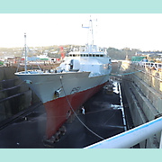 Bow view of L.E.Roisín, Verolme graving dock.
